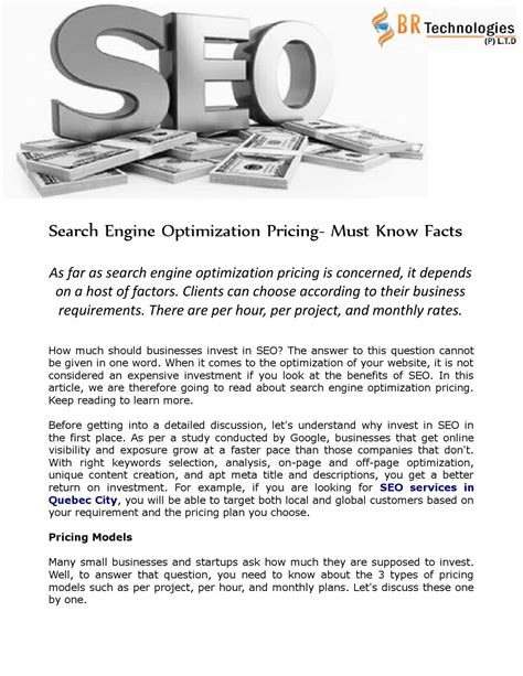 search engine optimization cost search engine optimization pricing must facts by sbr