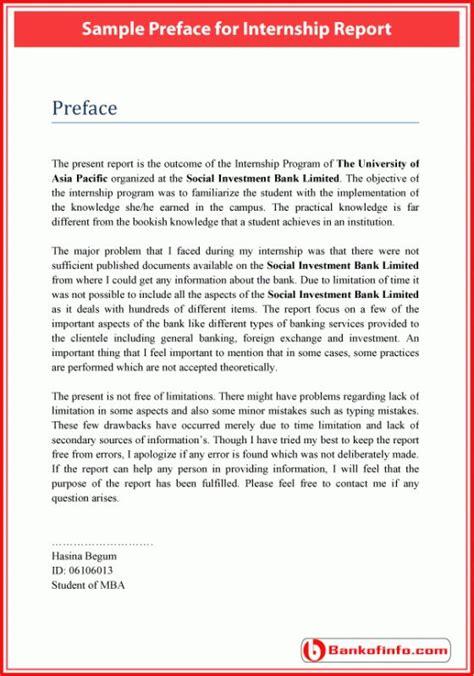 sample preface  internship report internship report