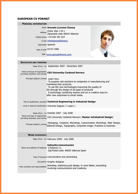 Curriculum Vitae Format For Application by Standard Cv Format For Application Letters Free