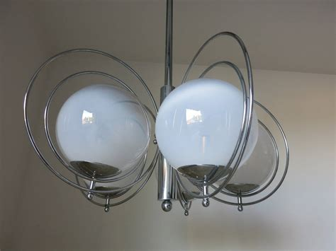 sergio mazza chrome and white glass balls chandelier for