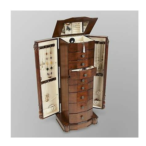 Armoire Jewelry Chest by Mirrored Jewelry Armoire Storage Chest Stand Wood Box