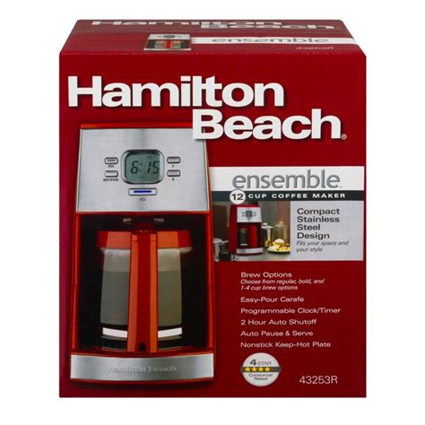 This hamilton beach 12 cup coffee maker comes equipped with some solid features that will catch the attention of those who are searching for a versatile coffee maker. Hamilton Beach Ensemble 12 Cup Coffee Maker Stainless Steel, 1.0 CT - Walmart.com - Walmart.com