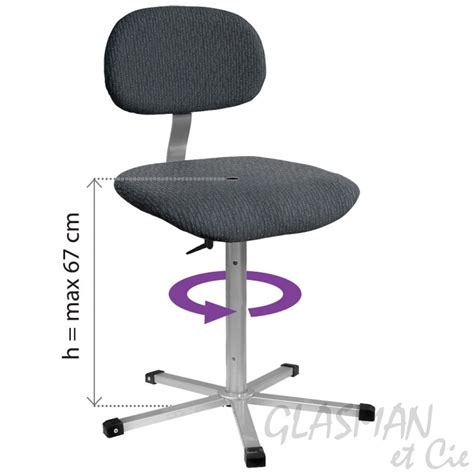 siege de repassage chaise de couture professionnel rotatif tapissé glasman
