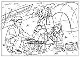 Coloring Campfire sketch template