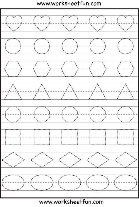 Shape Tracing  Kindergarten Worksheets Pinterest
