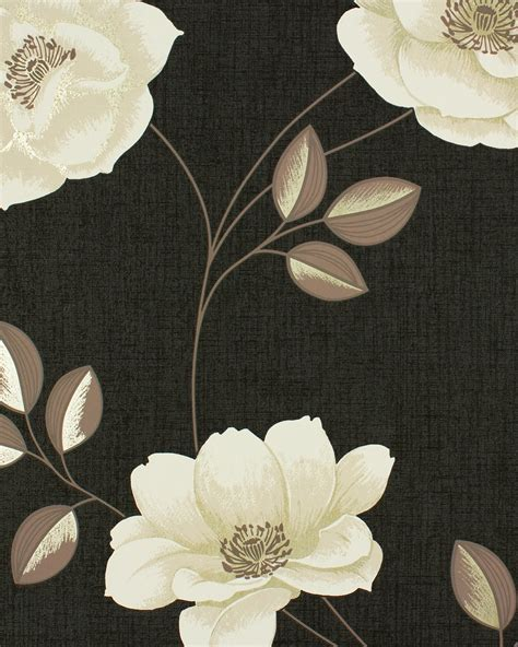 Download Cream Wallpaper With Brown Flowers Gallery
