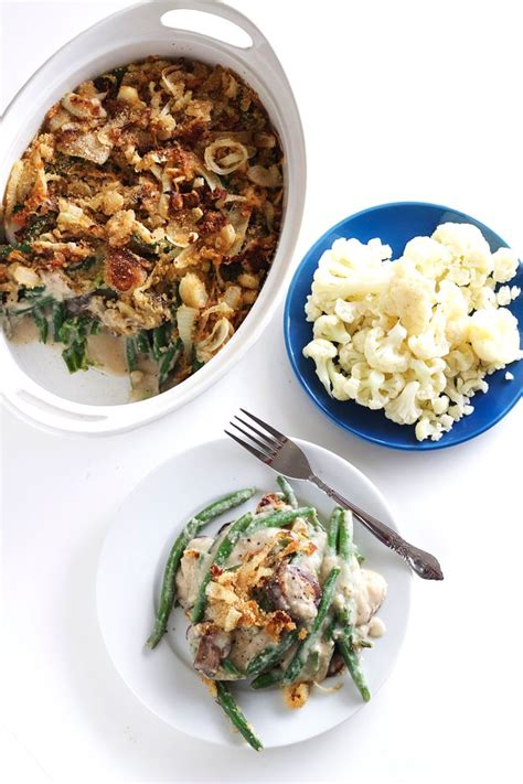 healthy green bean casserole  cauliflower sauce