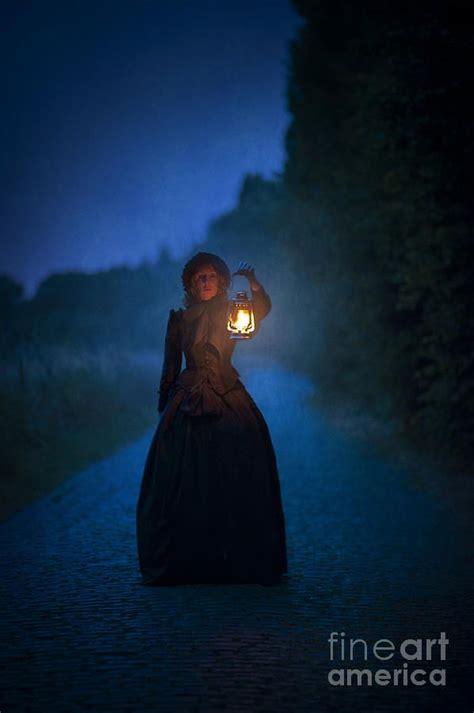victorian woman holding  lantern  night fantasy