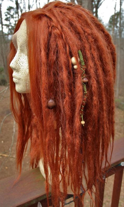 lace front synthetic dreadlock wig ginger red