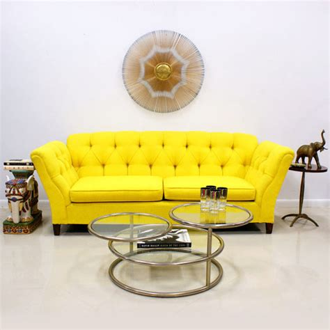 yellow settee 1960s 70s bright yellow button tufted sofa the modern