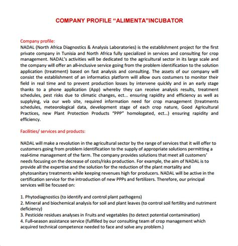 Seeking Arrangement Profile Examples Gallery Resume 8 Company Profile Sample Free Examples Format