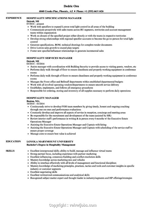 Resume Objective Exles Hospitality by Best Hotel Manager Resume Sle Hospitality Manager