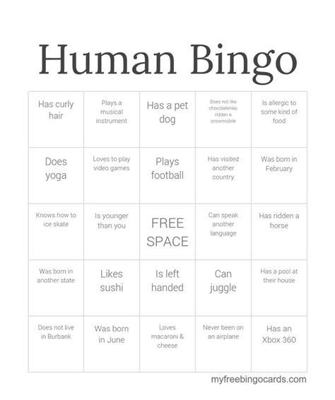 printable bingo cards activities human bingo