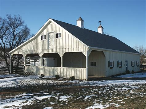 what s in the barn equine barn with overhangs and stalls