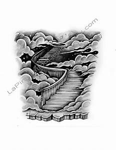 Stairway to Heaven/Clouds Tattoo Design