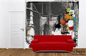 Poster geant basket sur le pont de brooklyn affiche for Chambre bébé design avec basket fleurie homme