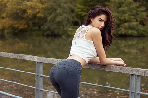 wallpaper women outdoors redhead model brunette ass