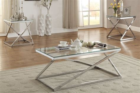 Coffee and accent table sets. Poundex Silver Finish 3 Pc Glass Top Coffee End Table Set | 3 piece coffee table set, Living ...