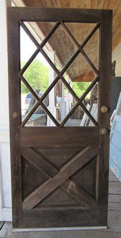 vtg solid wood dutch door crossbuck diamond glass shabby
