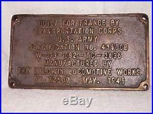 Plaque Transit : plaque baldwin locomotive works train sncf transportation corps us army 1946 2nde guerre ~ Gottalentnigeria.com Avis de Voitures
