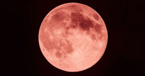 brilliant strawberry moon   visible  night sky