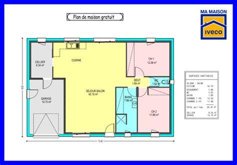plan maison plain pied 2 chambres gratuit constructeurvendee 187 plans de maisons