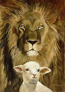 Peace Lion And Lamb Painting by Joyce Gibson