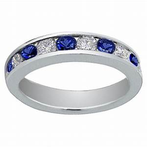 100 ct round cut diamond and blue sapphire wedding band ring for Blue sapphire wedding rings