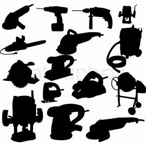 Collection of power tool vector vector silhouette Stock
