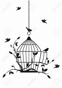 Open Bird Cage Silhouette Clipart