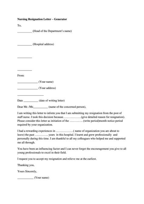 nursing resignation letter template printable