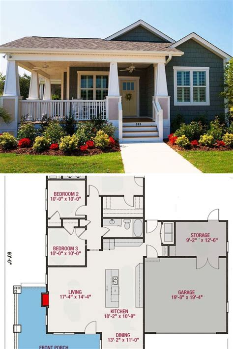 single story  bedroom bungalow home  attached garage floor plan cottage bungalow house