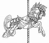 Coloring Horse Carousel Pages Flying Horses Animals Jumping Colouring Adult Printable Adults Sheets Advanced Colour Books Animal Sketch Tattoos Sketchite sketch template