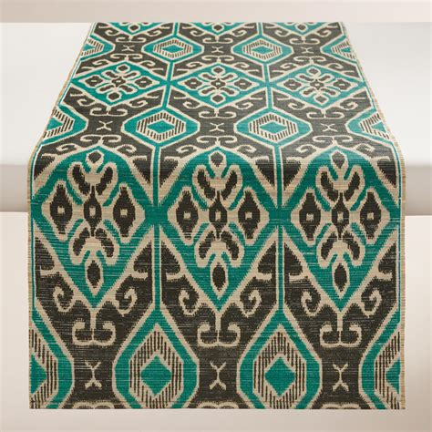turquoise table runners turquoise and black ikat valetta table runner world market