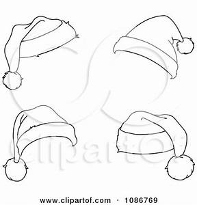 Clipart Four Outlined Santa Hats - Royalty Free Vector ...