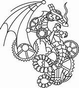 Steampunk Coloring Pages Printable Embroidery Wyvern Designs Patterns Urbanthreads Urban Animals Drawing Adult Threads Dragon Paper Colouring Steam Templates Sheets sketch template