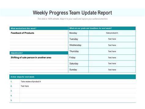 Weekly Progress Team Update Report Presentation Graphics