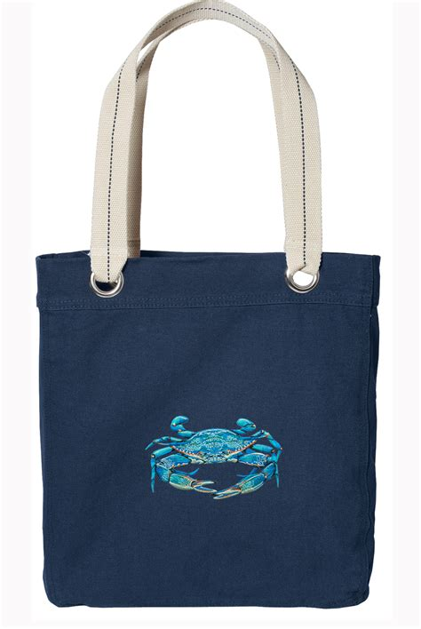 07653 Blue Crab Bay Discount Code by Blue Crab Theme Navy Cotton Tote Bag Lined Canvas Ebay