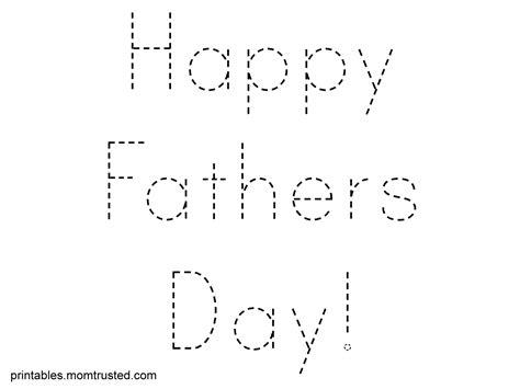 happy s day traceable words sheet preschool 816   Trace happyfathersday