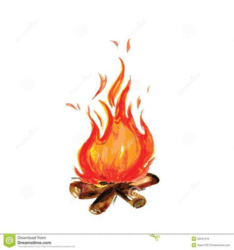 Fireplace Der Clip - feuer gemalt in der aquarellart vektor abbildung