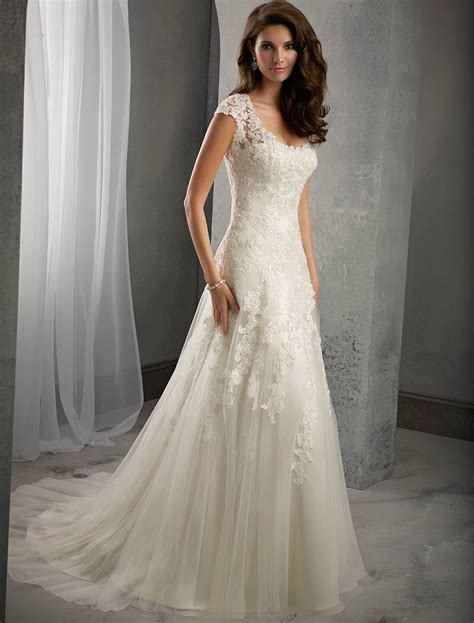 Ivory Lace Cap Sleeves Court Train Wedding Mermaid Dress