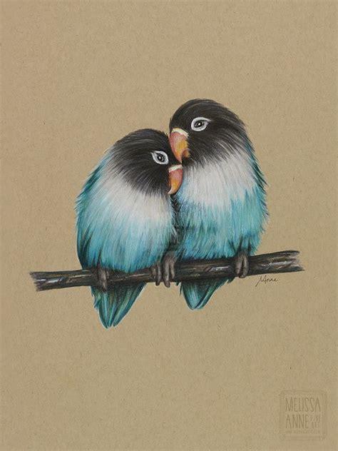love birds polychromos pencils  toned tan paper