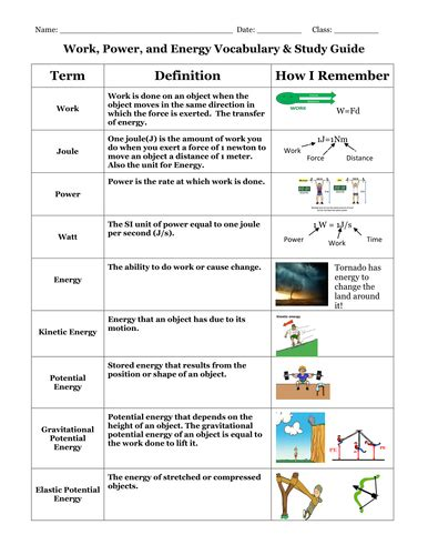 work power and energy vocabulary and study guide work