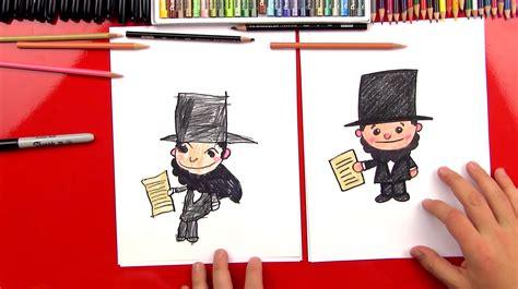 draw  cartoon abraham lincoln art  kids hub