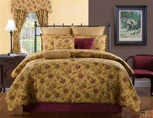 4pc red orange wine mustard curry floral print 100 cotton comforter set king