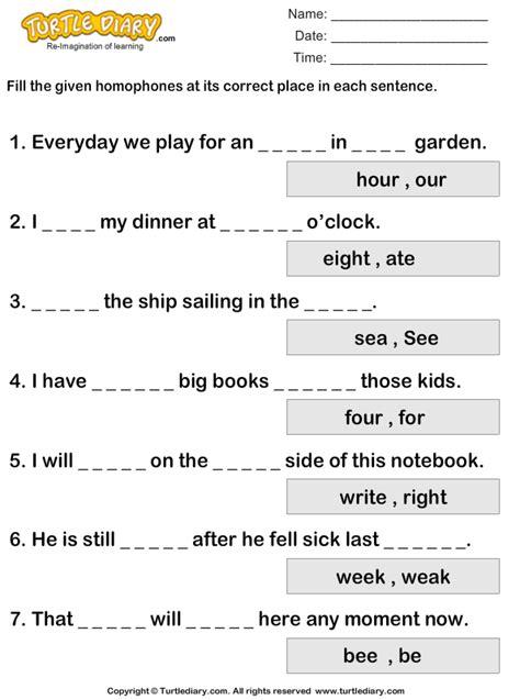 homophone complete  sentence worksheet turtle diary