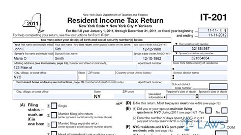 Ny State Form 201 by Form It 201 Resident Income Tax Return Youtube