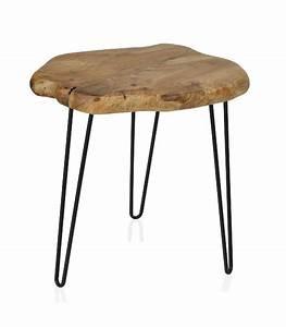 Table Bois Et Noir : table d 39 appoint rondin c dre et pieds m tal noir ~ Dailycaller-alerts.com Idées de Décoration