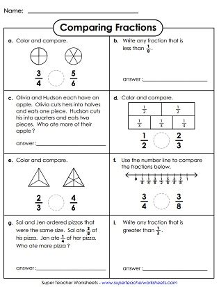 multiplication chart comparing ordering fractions worksheets