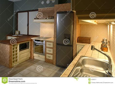 Well furnished kitchen stock image. Image of pretty